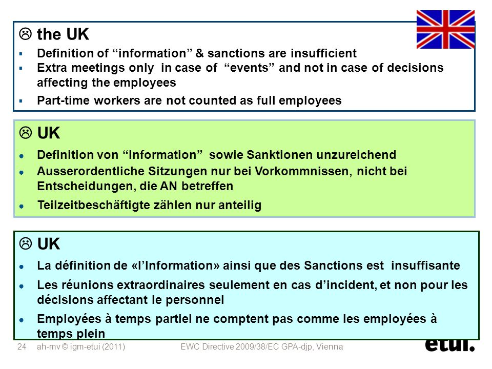  the UK Definition of information & sanctions are insufficient.
