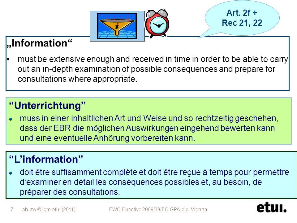 """""""Information Unterrichtung L'information Art. 2f + Rec 21, 22"""