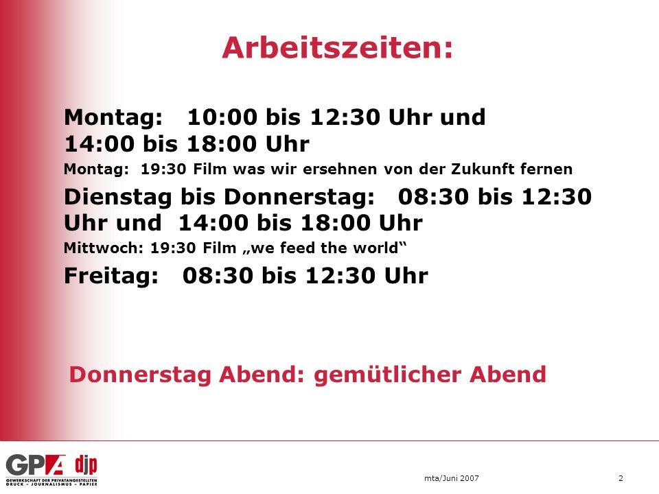 Arbeitszeiten: Montag: 10:00 bis 12:30 Uhr und 14:00 bis 18:00 Uhr. Montag: 19:30 Film was wir ersehnen von der Zukunft fernen.