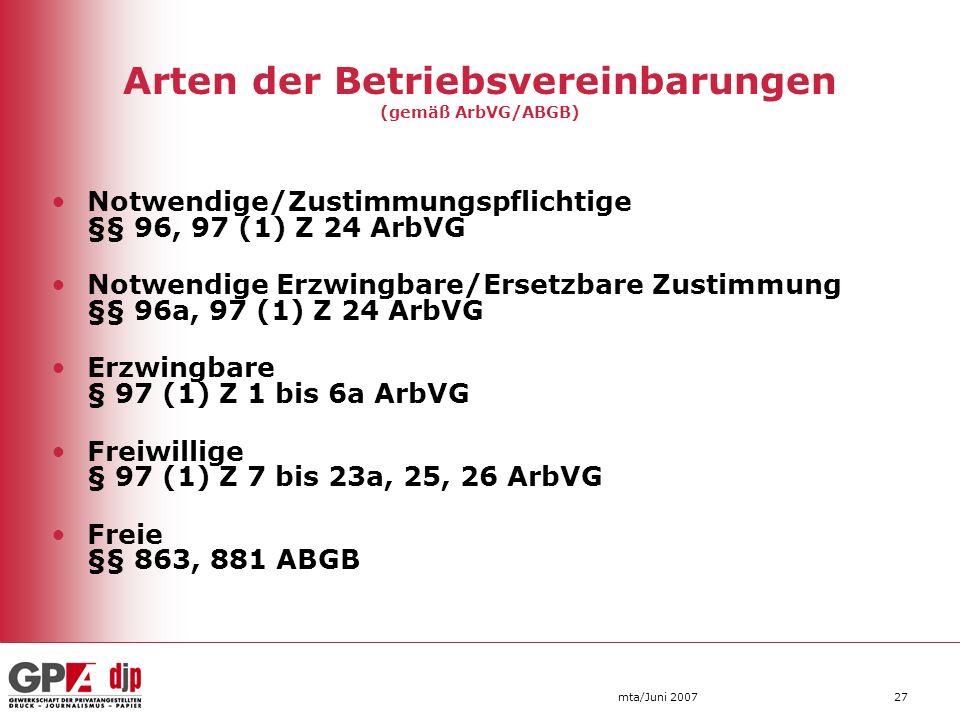 Arten der Betriebsvereinbarungen (gemäß ArbVG/ABGB)