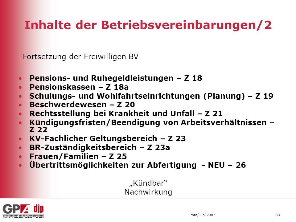Inhalte der Betriebsvereinbarungen/2