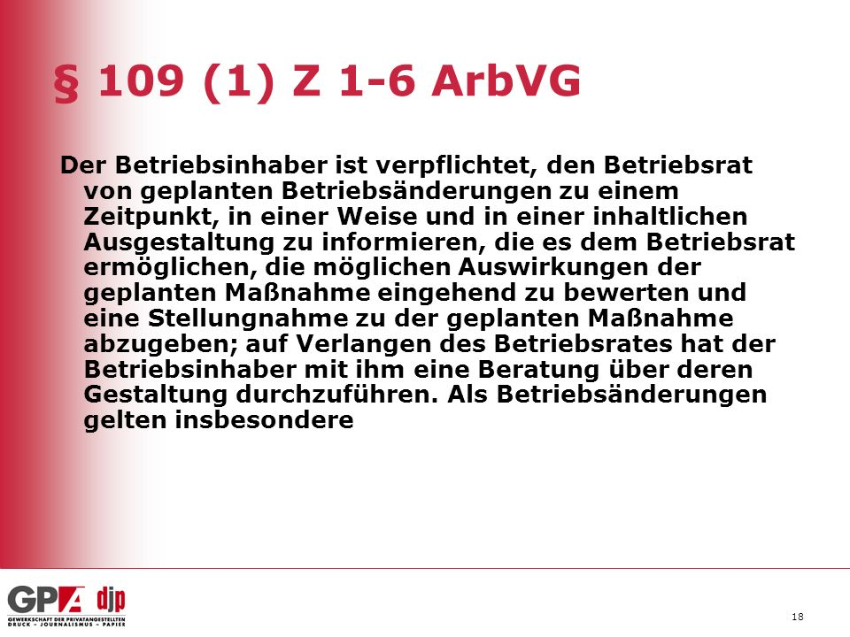 § 109 (1) Z 1-6 ArbVG