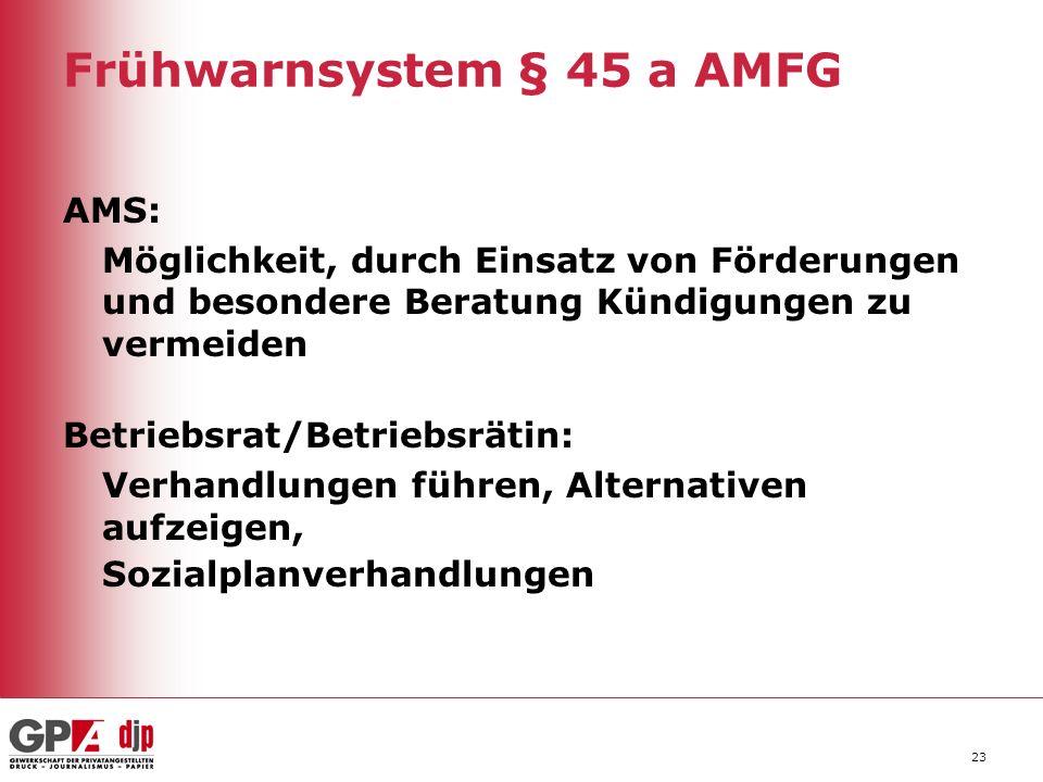 Frühwarnsystem § 45 a AMFG