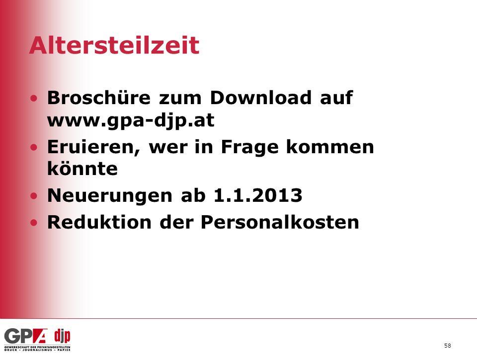 Altersteilzeit Broschüre zum Download auf www.gpa-djp.at