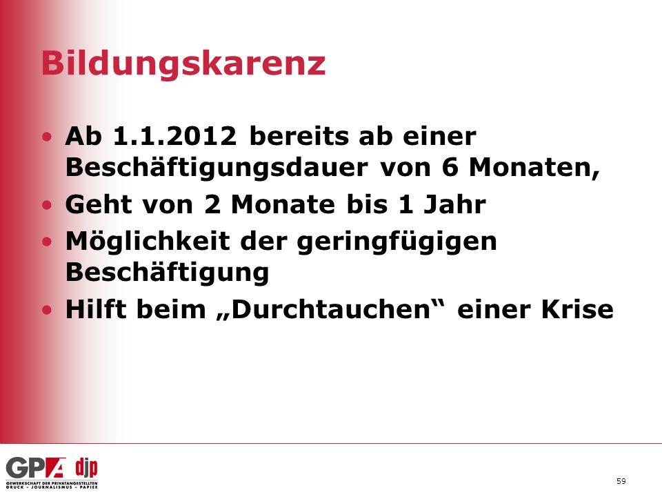 Bildungskarenz Ab 1.1.2012 bereits ab einer Beschäftigungsdauer von 6 Monaten, Geht von 2 Monate bis 1 Jahr.