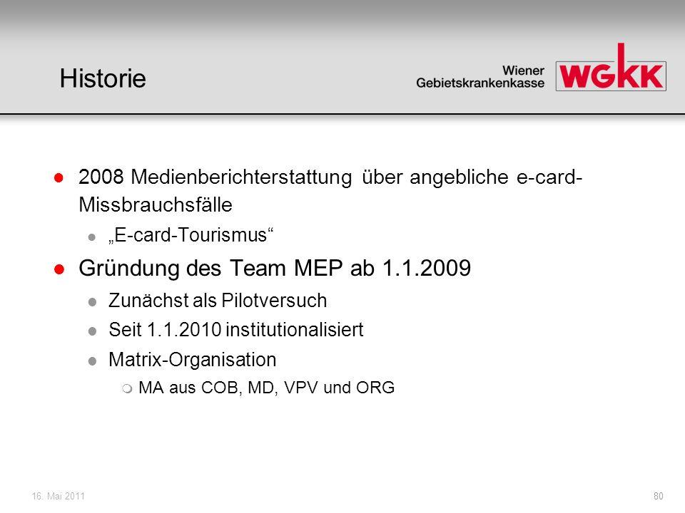 Historie Gründung des Team MEP ab 1.1.2009