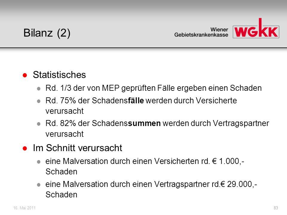 Bilanz (2) Statistisches Im Schnitt verursacht