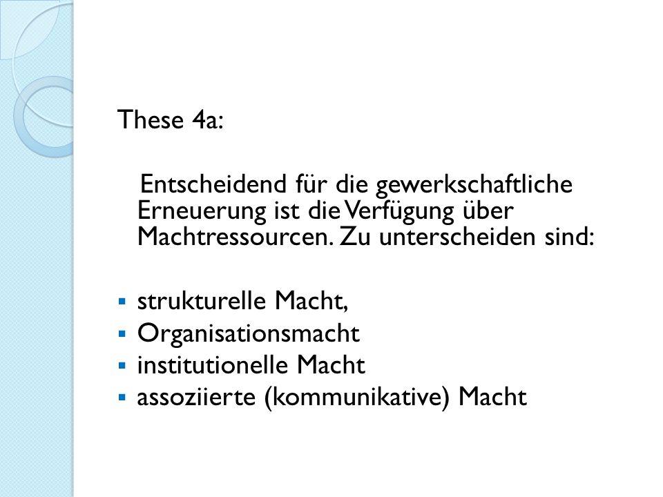 These 4a: Entscheidend für die gewerkschaftliche Erneuerung ist die Verfügung über Machtressourcen. Zu unterscheiden sind: