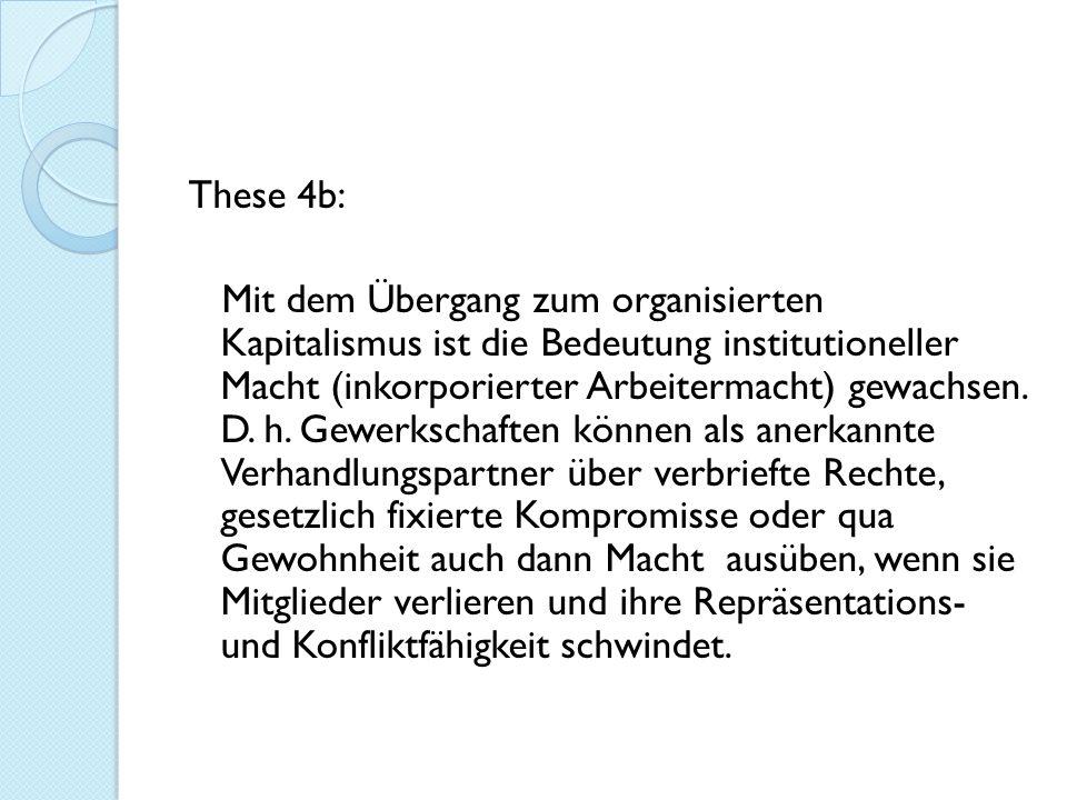 These 4b: Mit dem Übergang zum organisierten Kapitalismus ist die Bedeutung institutioneller Macht (inkorporierter Arbeitermacht) gewachsen.