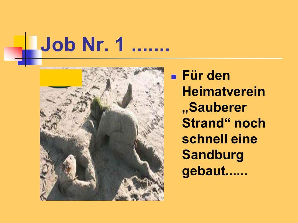 """Job Nr. 1 ....... Für den Heimatverein """"Sauberer Strand noch schnell eine Sandburg gebaut......"""