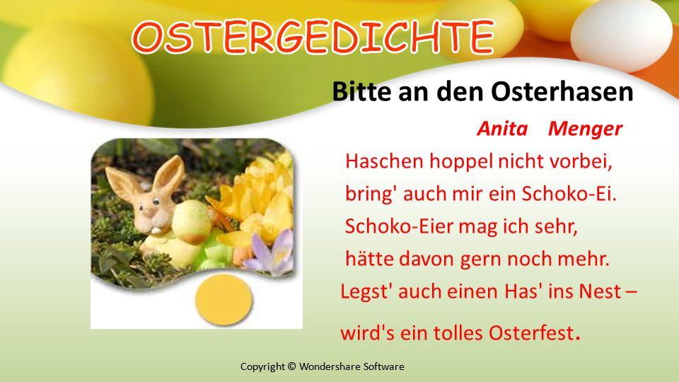 OSTERGEDICHTE Bitte an den Osterhasen Anita Menger