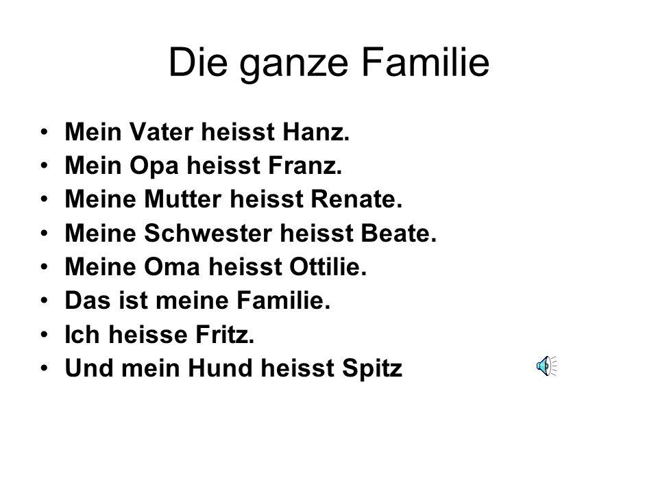 Die ganze Familie Mein Vater heisst Hanz. Mein Opa heisst Franz.