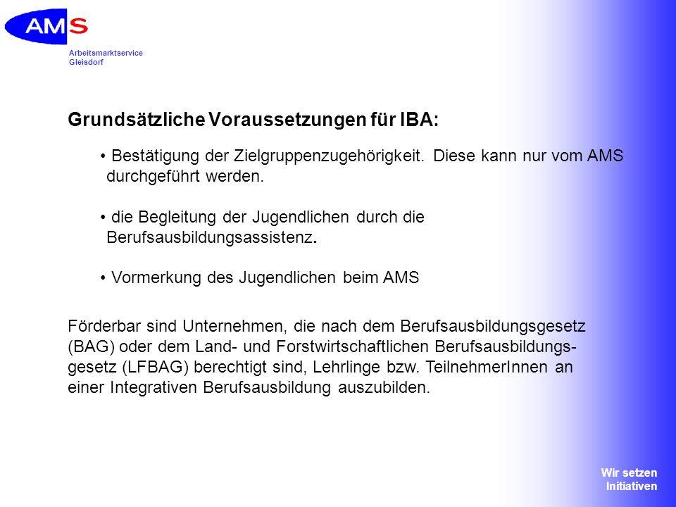 Grundsätzliche Voraussetzungen für IBA: