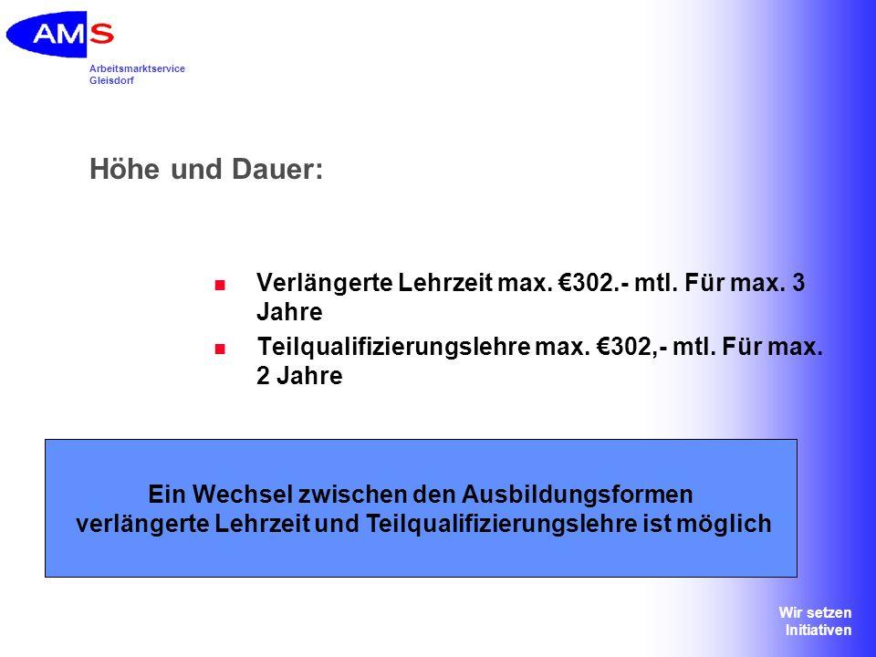 Höhe und Dauer: Verlängerte Lehrzeit max. €302.- mtl. Für max. 3 Jahre
