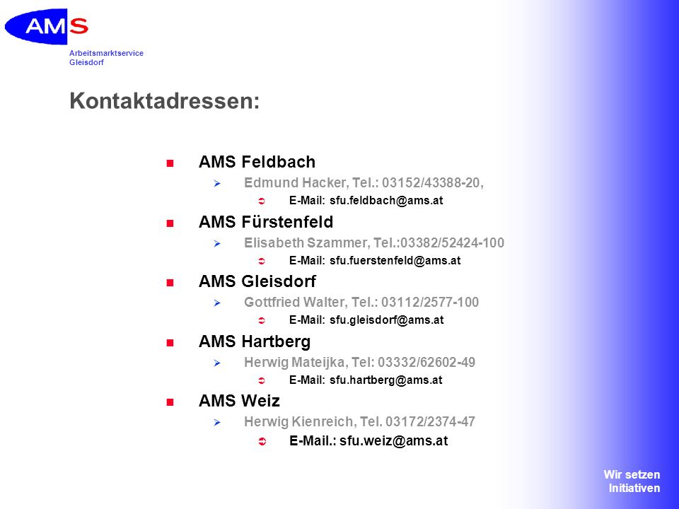 Kontaktadressen: AMS Feldbach AMS Fürstenfeld AMS Gleisdorf