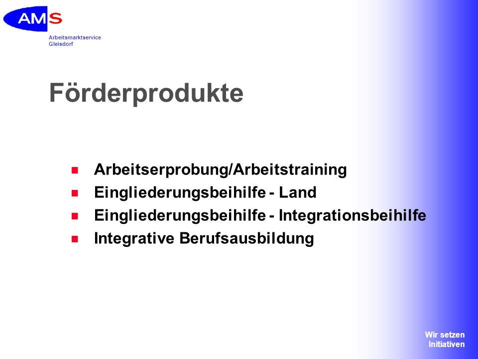 Förderprodukte Arbeitserprobung/Arbeitstraining