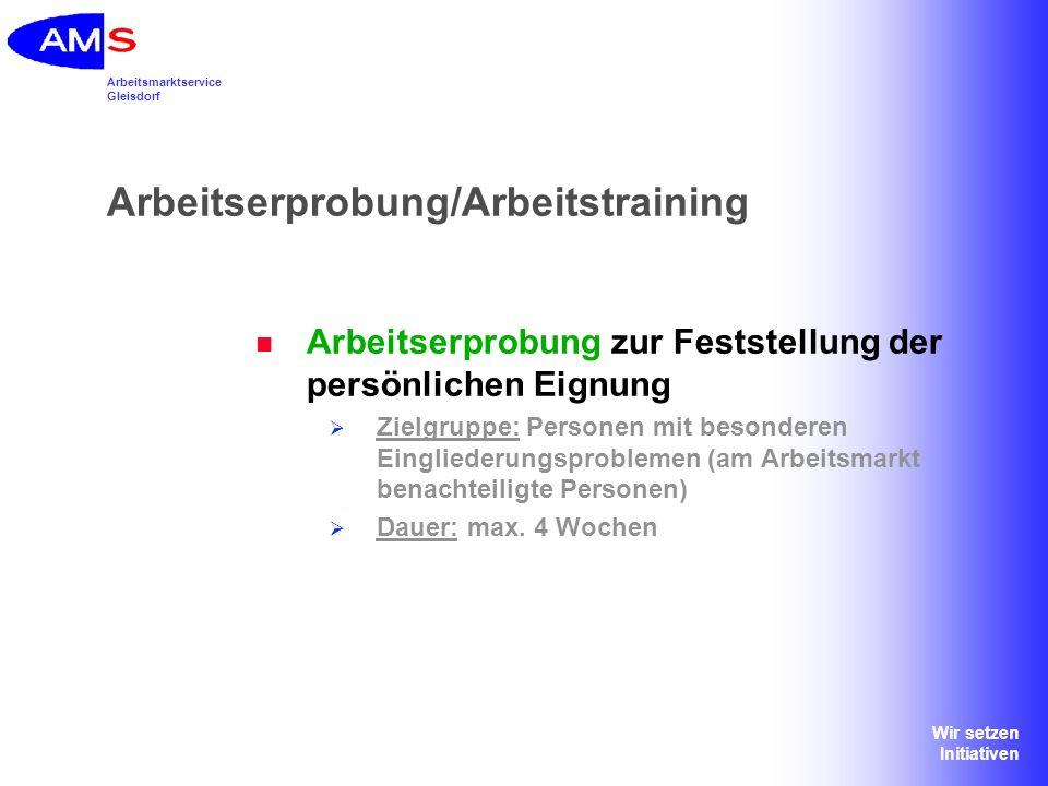 Arbeitserprobung/Arbeitstraining