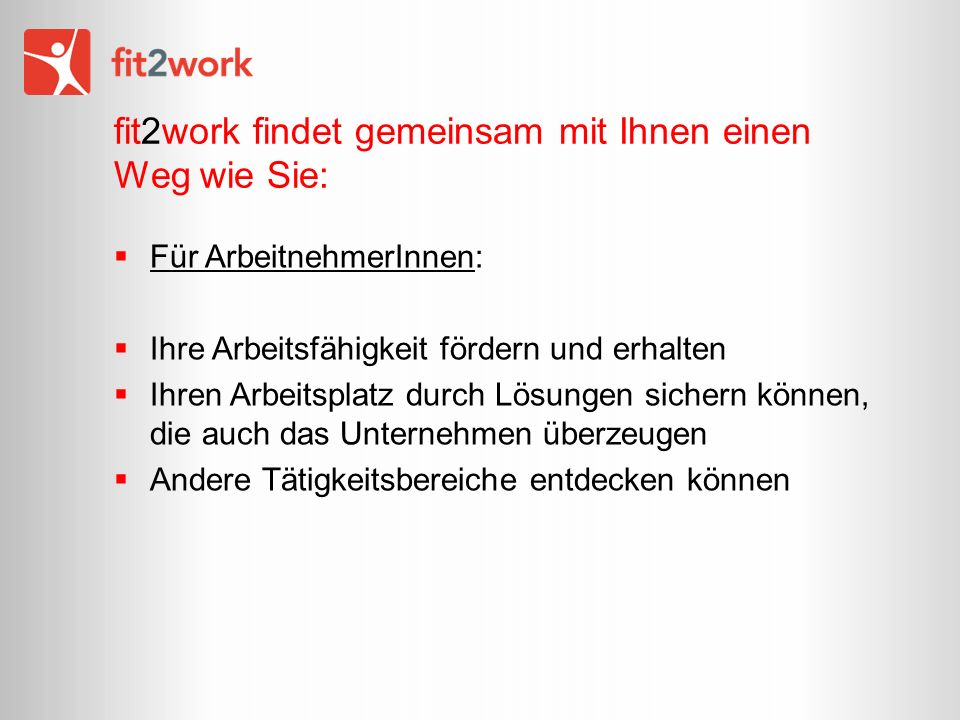 fit2work findet gemeinsam mit Ihnen einen Weg wie Sie: