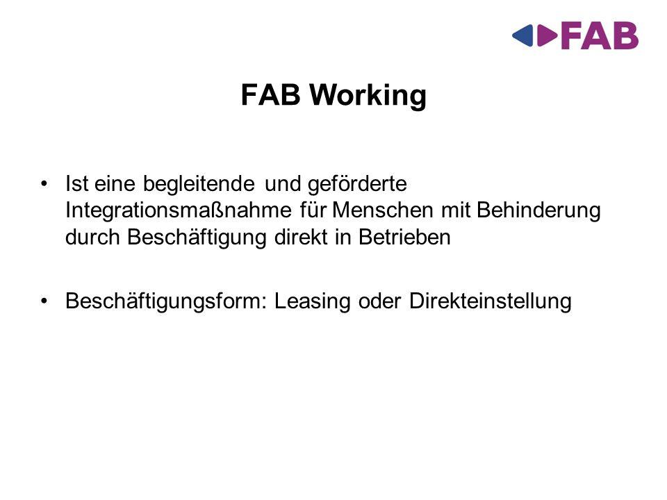 FAB Working Ist eine begleitende und geförderte Integrationsmaßnahme für Menschen mit Behinderung durch Beschäftigung direkt in Betrieben.