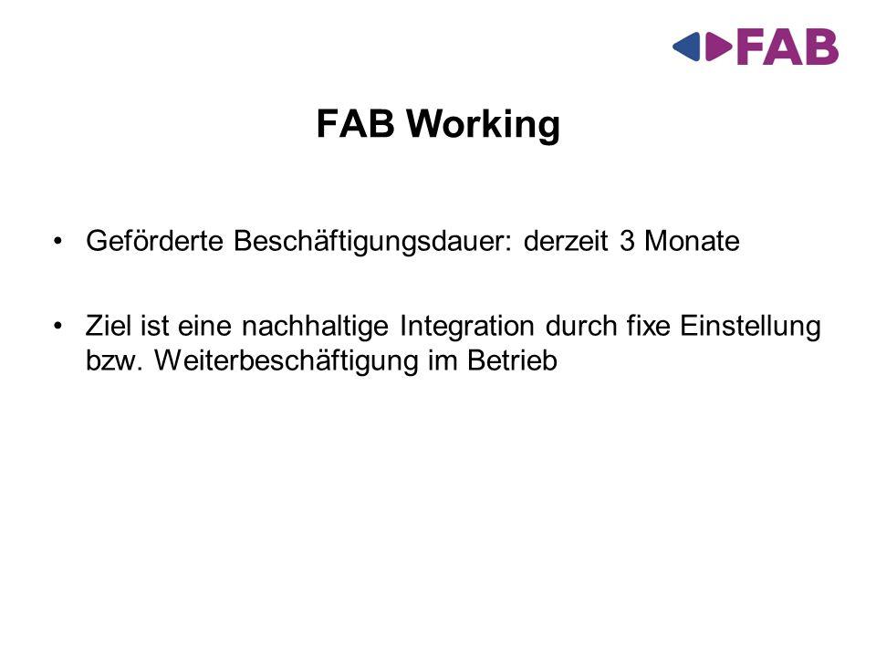 FAB Working Geförderte Beschäftigungsdauer: derzeit 3 Monate