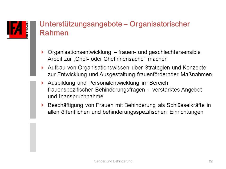 Unterstützungsangebote – Organisatorischer Rahmen