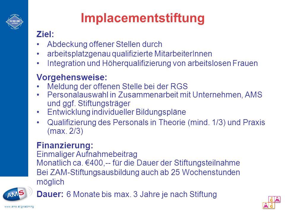 Implacementstiftung Ziel: Vorgehensweise: Finanzierung: