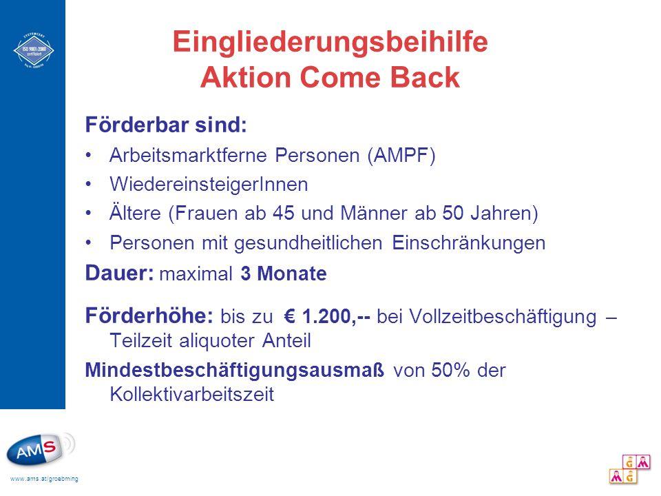 Eingliederungsbeihilfe Aktion Come Back