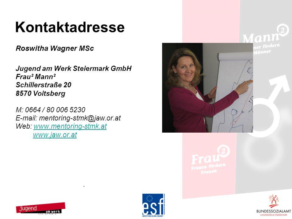 Kontaktadresse Roswitha Wagner MSc Jugend am Werk Steiermark GmbH
