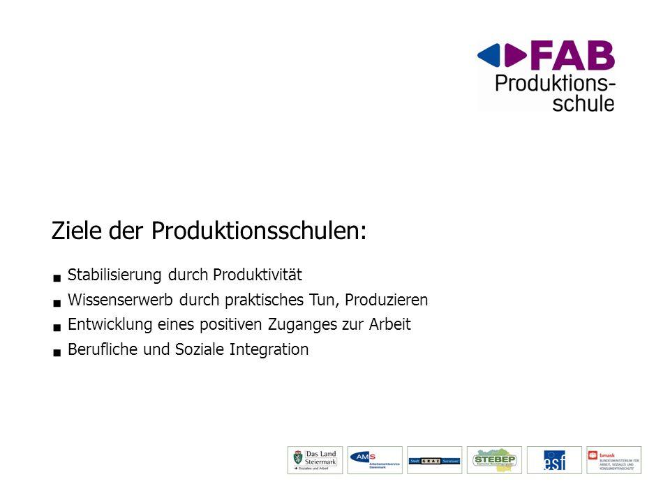 Ziele der Produktionsschulen: