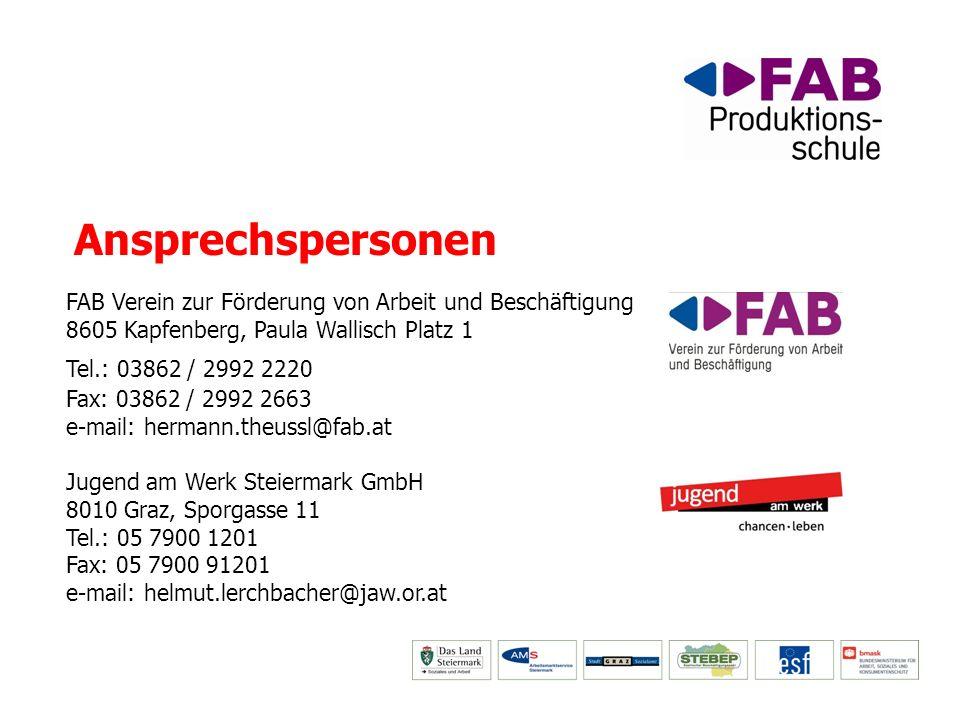 Ansprechspersonen FAB Verein zur Förderung von Arbeit und Beschäftigung. 8605 Kapfenberg, Paula Wallisch Platz 1.