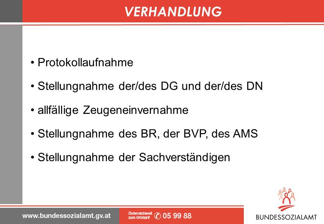 VERHANDLUNG Protokollaufnahme Stellungnahme der/des DG und der/des DN
