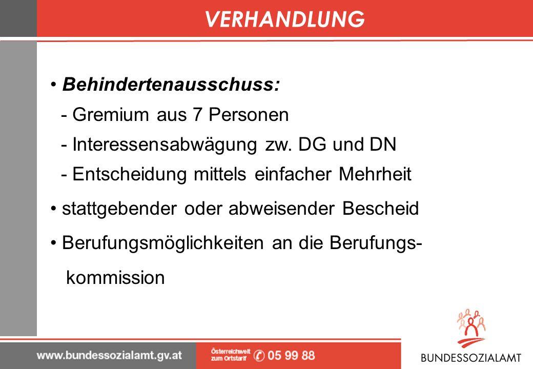VERHANDLUNG Behindertenausschuss: - Gremium aus 7 Personen