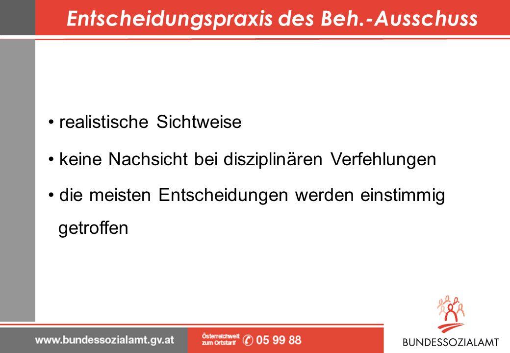 Entscheidungspraxis des Beh.-Ausschuss
