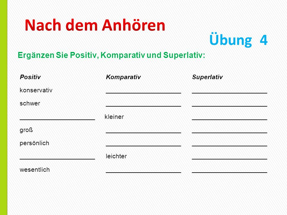 Nach dem Anhören Übung 4. Ergänzen Sie Positiv, Komparativ und Superlativ: Positiv Komparativ Superlativ.