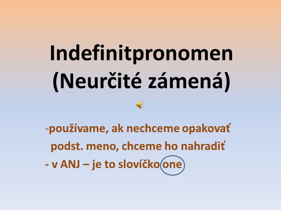Indefinitpronomen (Neurčité zámená)