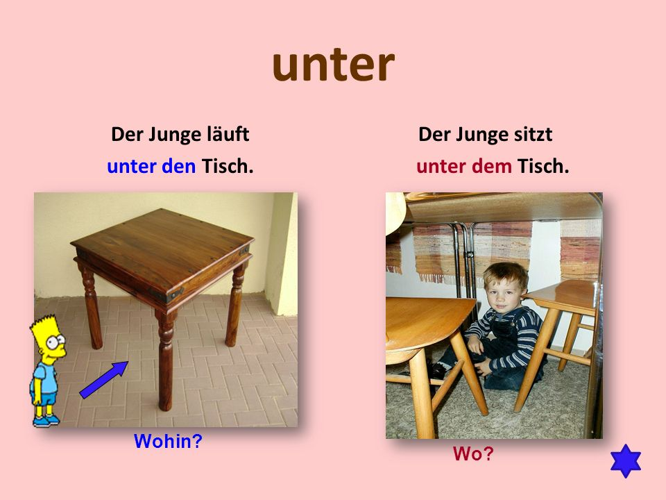 unter Der Junge läuft unter den Tisch. Der Junge sitzt