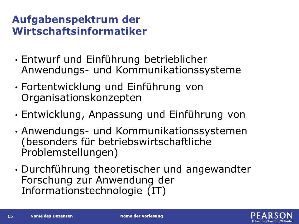 Aufgabenspektrum der Wirtschaftsinformatiker