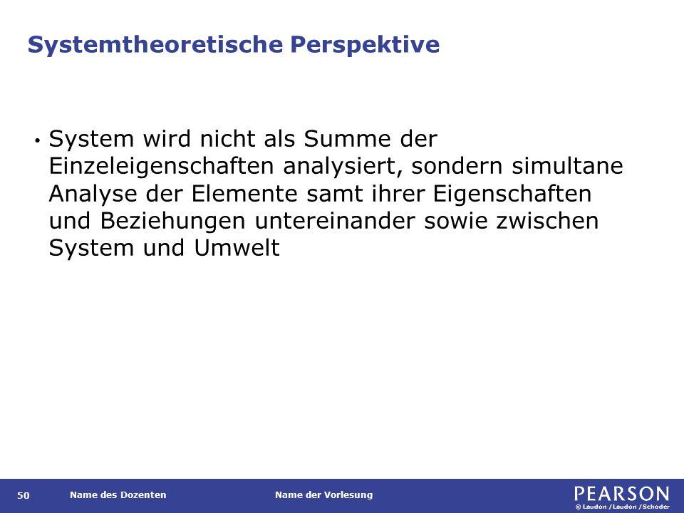Systemtheoretische Perspektive: wesentliche Beschreibungsebenen