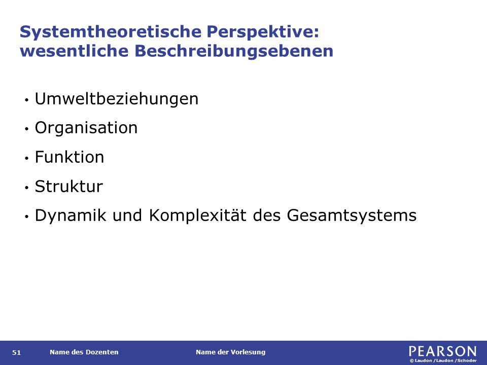 Systemtheoretische Perspektive: Beschreibungsebenen