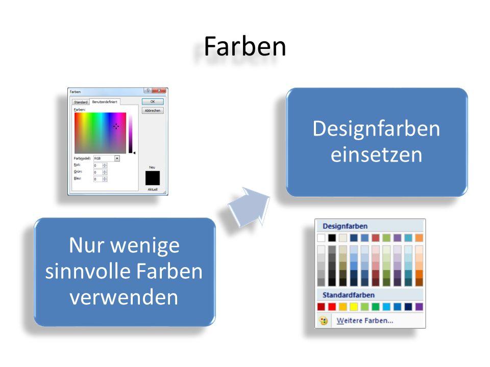 Farben Nur wenige sinnvolle Farben verwenden Designfarben einsetzen