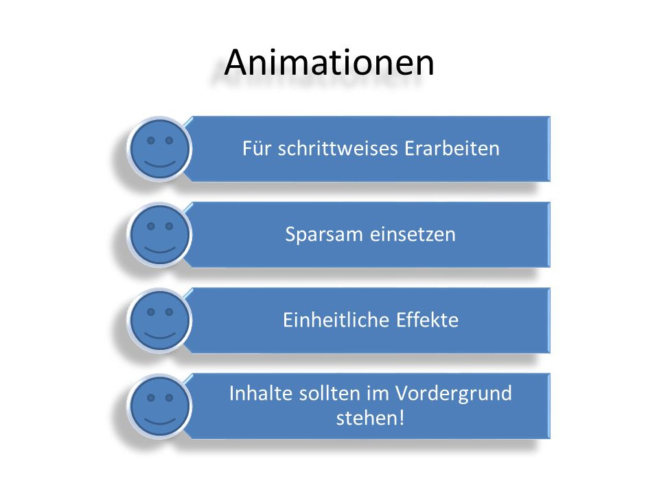 Animationen Für schrittweises Erarbeiten Sparsam einsetzen