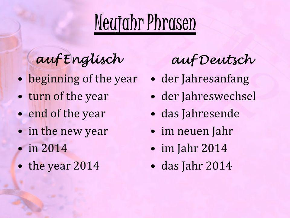 Neujahr Phrasen auf Englisch auf Deutsch beginning of the year