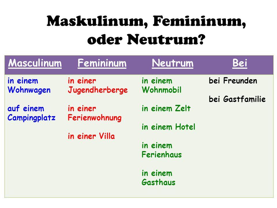 Maskulinum, Femininum, oder Neutrum