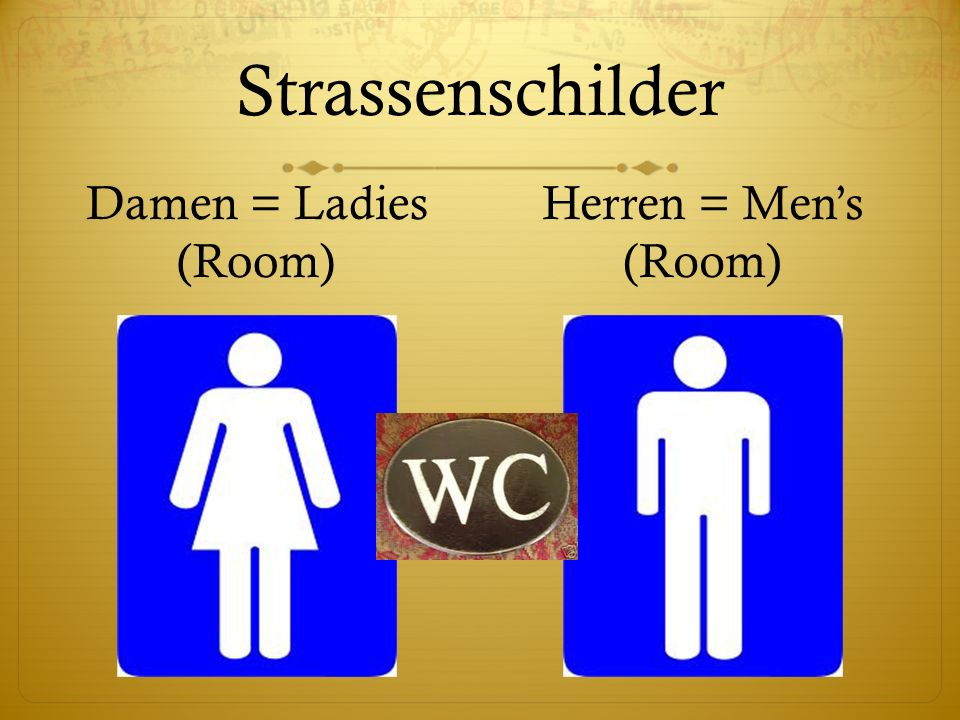 Strassenschilder Damen = Ladies (Room) Herren = Men's (Room)