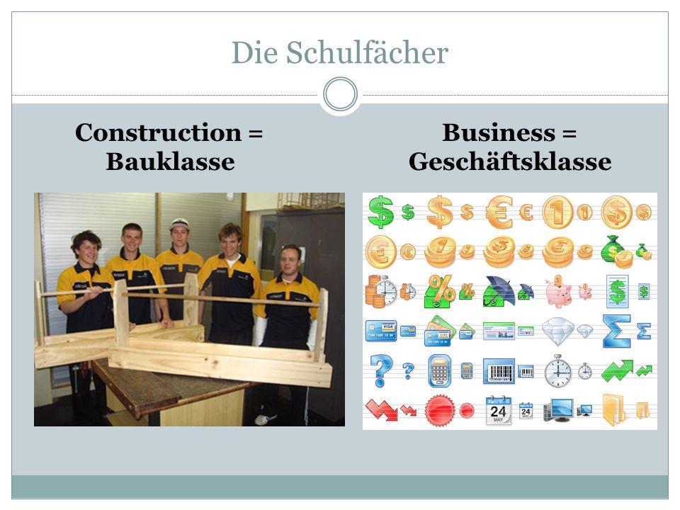 Construction = Bauklasse Business = Geschäftsklasse