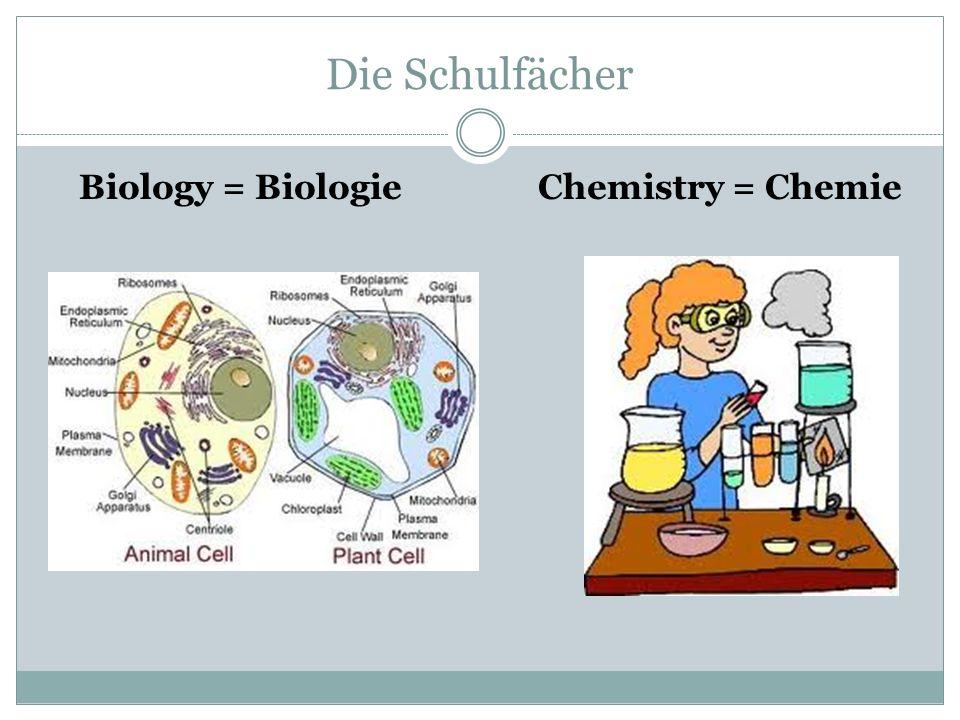 Die Schulfächer Biology = Biologie Chemistry = Chemie