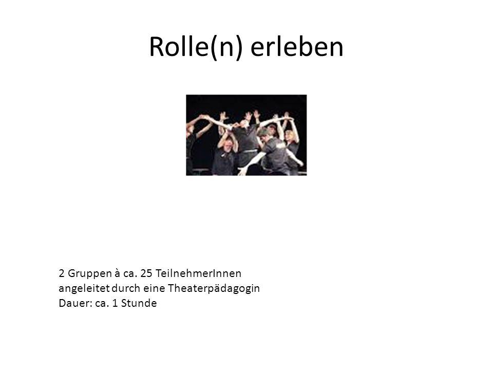 Rolle(n) erleben 2 Gruppen à ca. 25 TeilnehmerInnen