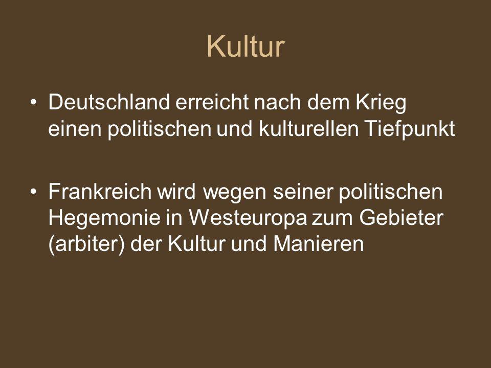 Kultur Deutschland erreicht nach dem Krieg einen politischen und kulturellen Tiefpunkt.
