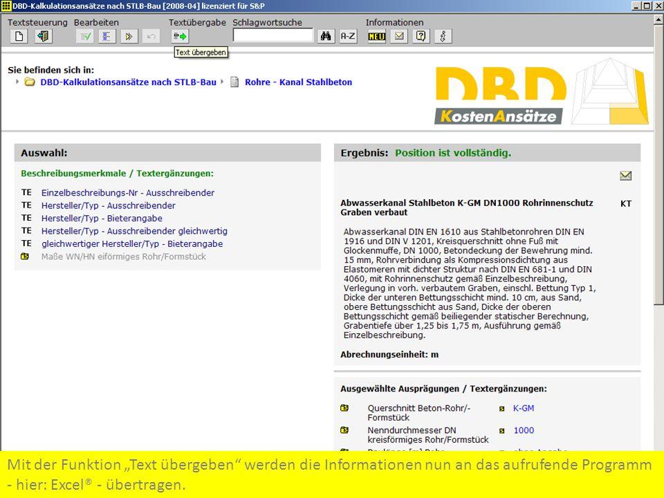 """Mit der Funktion """"Text übergeben werden die Informationen nun an das aufrufende Programm - hier: Excel® - übertragen."""