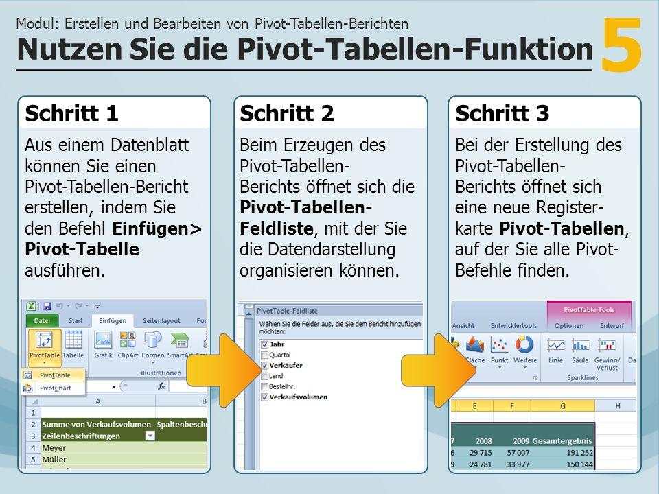 Nutzen Sie die Pivot-Tabellen-Funktion